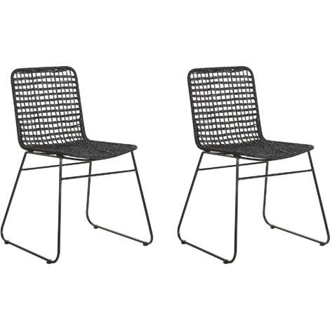 Rustic Boho Indoor Rattan Dining Room Kitchen Chair Set Black Berito