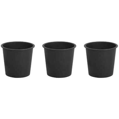 Set of 3 Traditional Round Plant Pot Inserts Black Synthetic 34 cm
