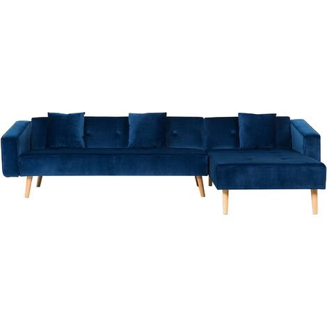 Velvet Left Hand Corner Sofa Bed Navy Blue Buttoned Sleeper Vadso