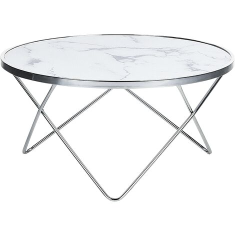 Coffee Table Hairpin Legs Tempered Glass Round Top Marble Effect White Meridian
