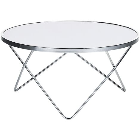 Coffee Table Hairpin Legs Tempered Glass Round Top White Silver Legs Meridian