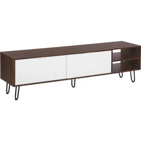 Modern TV Stand Media Unit Dark Wood White Storage Cabinet Shelf Paxton