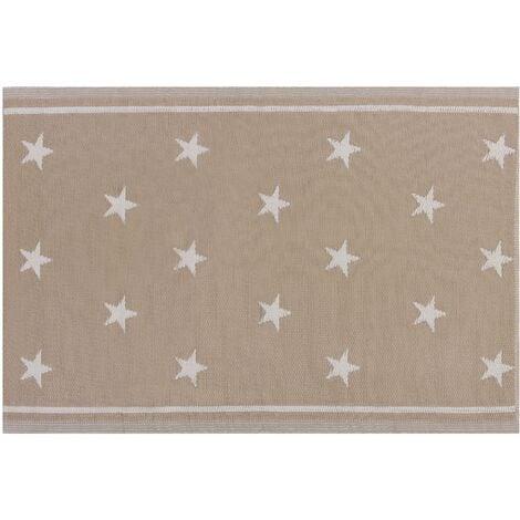 Indoor Outdoor Area Rug Mat 120 x 180 cm Woven Synthetic Beige Stars Latur