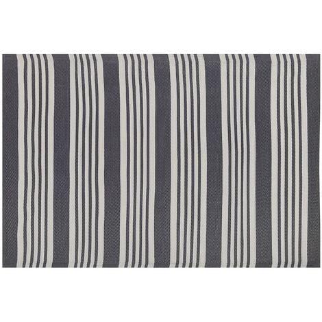 Indoor Outdoor Area Rug Mat 120 x 180 cm Synthetic Black Stripes Delhi
