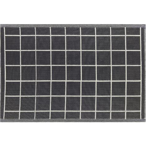 Indoor Outdoor Woven Area Rug 120 x 180 cm Synthetic Black White Chequer Rampur