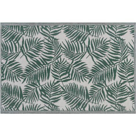 Outdoor Area Rug 120 x 180 cm Palm Leaf Pattern Dark Green Kota
