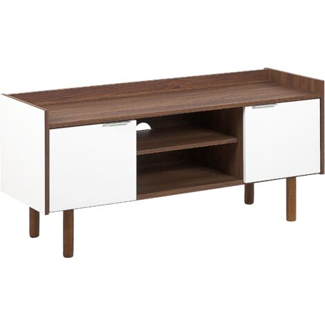 Retro Scandinavian TV Stand White and Brown 56 x 118 cm with 2 Doors and Shelves Madera