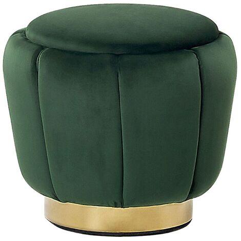 Modern Velvet Accent Pouffe Round Gold Base Footstool Green Irving
