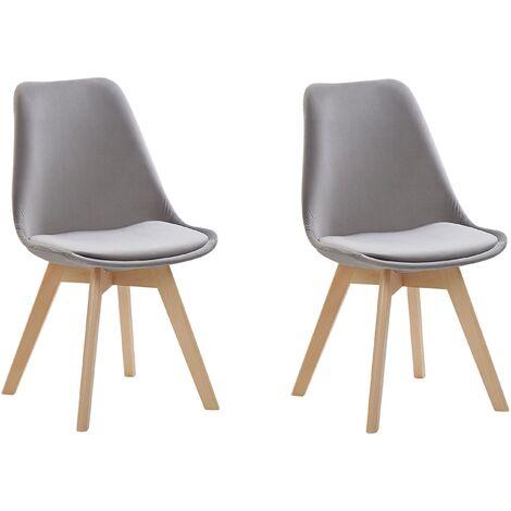 Set of 2 Modern Dining Chairs Velvet Upholstery Wooden Legs Grey Dakota II