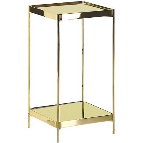 Side Table Square with Shelf Tempered Glass Top Metal Legs Gold Glam Alsea