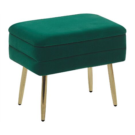 Glam Storage Bench Footstool Velvet Upholstery Golden Legs Dark Green Odessa