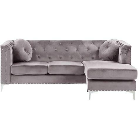 Left Hand Velvet Corner Sofa Grey Additional Pillows Tufted Nailhead Trims Flen
