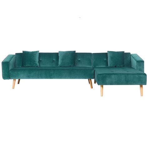 Velvet Left Hand Corner Sofa Bed Green Buttoned Sleeper Vadso