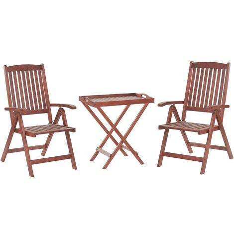 Rustic Outdoor Garden Solid Acacia Dark Wood Bistro Set Adjustable Foldable Chair Table Toscana