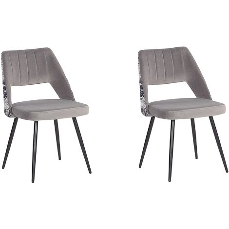 Retro Style Set of 2 Dining Chairs Velvet Seat Floral Pattern Back Grey Ansley
