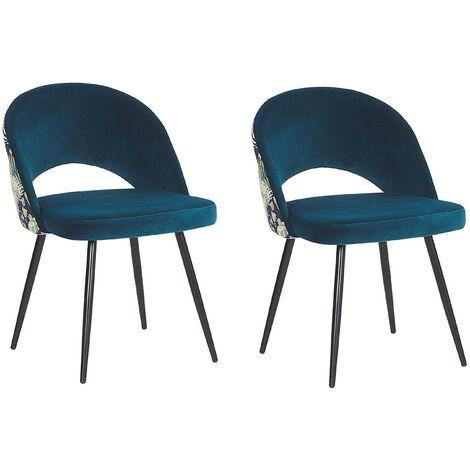 Set of 2 Vintage Velvet Dining Chairs Metal Legs Floral Pattern Blue Vivian