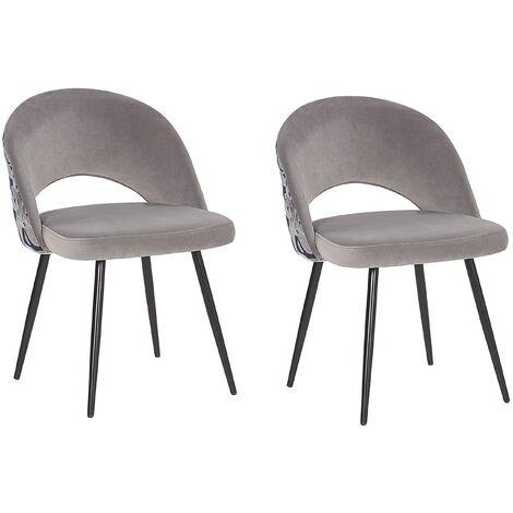 Set of 2 Vintage Velvet Dining Chairs Metal Legs Floral Pattern Grey Vivian