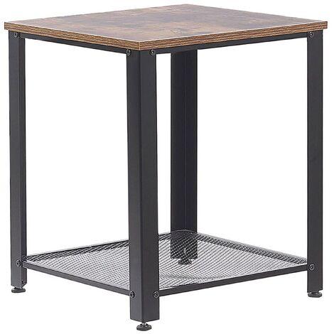 End Side Table Industrial Modern Design 1 Shelf Dark Wood Tabletop Black Frame Aston