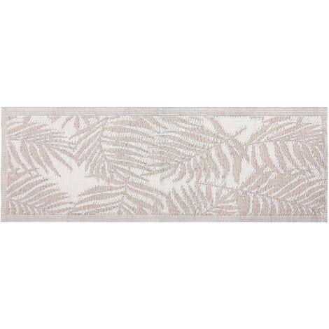 Outdoor Reversible Area Rug 60 x 105 cm Palm Leaf Pattern Beige Kota