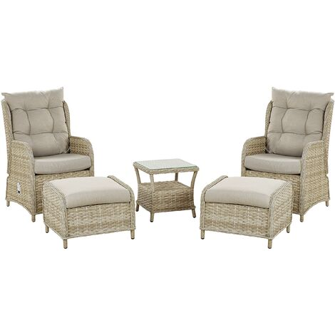 Outdoor Lounge Set for 2 Armchairs Footstools with Table Faux Rattan Beige Ponza