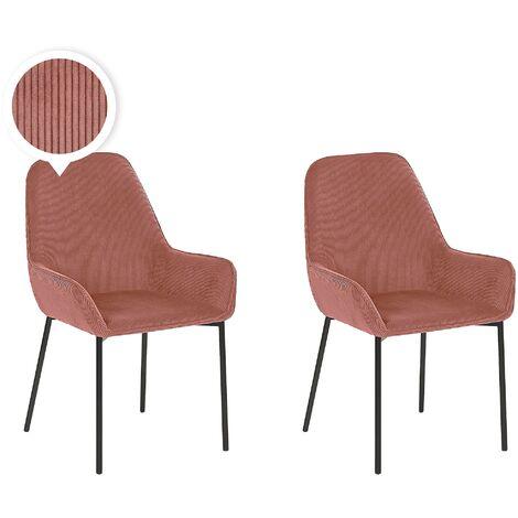 Set of 2 Dining Chairs Pink Corduroy Fabric Black Metal Legs Loverna