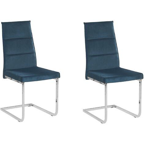 Set of 2 Dining Chairs Cantilever Upholstered Velvet Blue Rockford