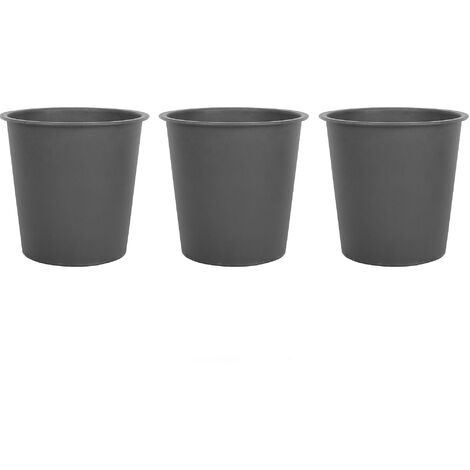 Set of 3 Traditional Plant Flower Pot Protective Inserts Round Black 26 cm