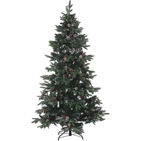 Artificial Snow Christmas Tree with Pine Cones Holly Berries 180 cm Green Denali