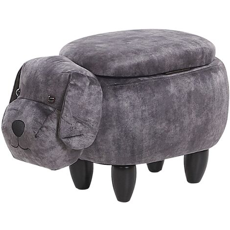Kids Animal Stool Velvet Pouffe with Storage Wooden Legs Playroom Grey Doggy