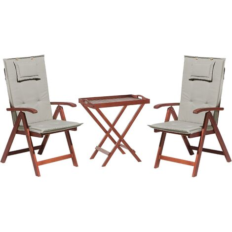 Acacia Wood Bistro Set with Cushion Taupe TOSCANA