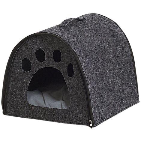 Felt Cat House Indoor Felt Pet Bed Grey 40 x 40 cm Budug
