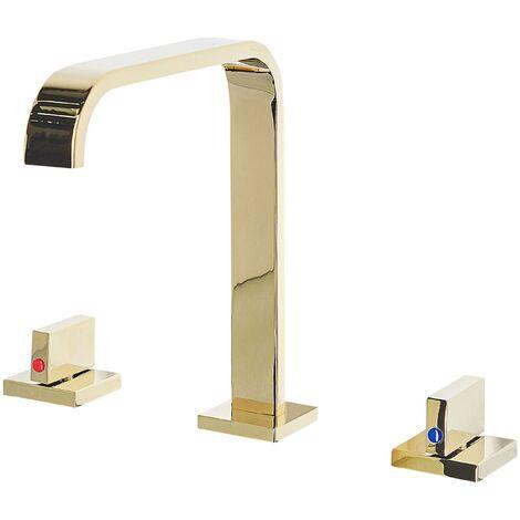Modern Glossy Bathroom Basin Tap Brass Mixer Sink Twin Levers Gold Kagera
