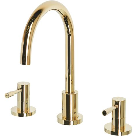 Bathroom Basin Tap Mixer Gold Brass Two Levers Sipi
