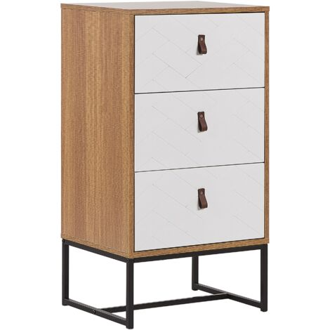 Modern Chest of Drawers Storage Cabinet Metal Legs Light Wood with White Nueva