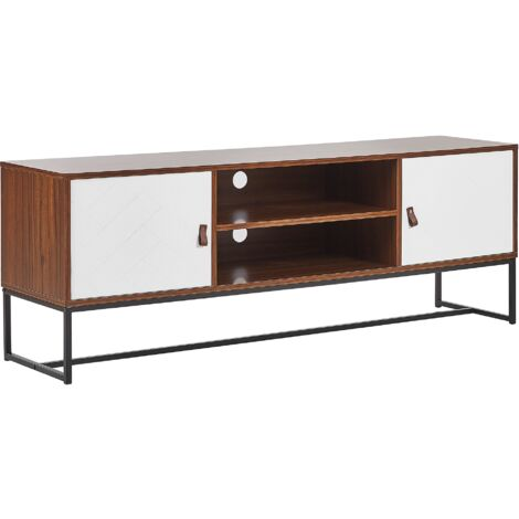 TV Stand Media Unit with Cable Management Metal Legs Dark Wood with White Nueva