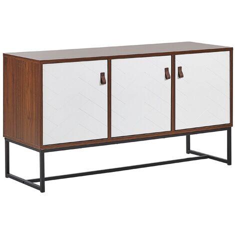 Modern Sideboard Storage Cabinet 3 Doors Metal Legs Dark Wood with White Nueva