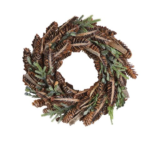 Traditional Round Christmas Wreath Wooden Pine Cones Faux Twigs 35cm Brown Kaavi