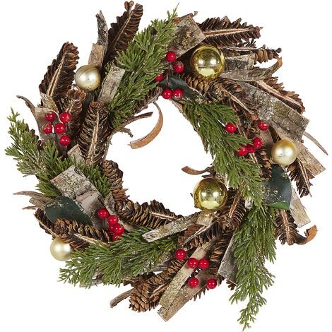 Traditional Christmas Wreath Synthetic Pine Cones Cranberry 35cm Green Red Raate