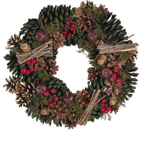Traditional Christmas Wreath Pine Cones Synthetic 35 cm Green Nurmes