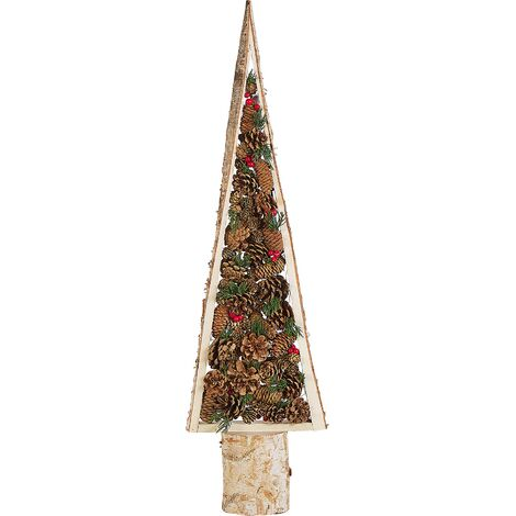 Decorative Figurine Wooden Christmas Tree with Pine Cones 96 cm Light Wood Tolja