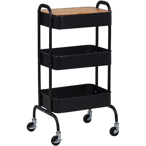 Industrial Kitchen Trolley Black Shelves Detachable Wooden Top Castors Lucca