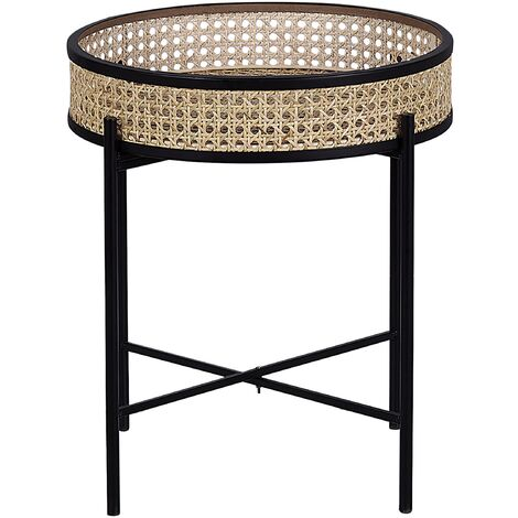 Tray Side Table Black with Light Rattan VIENNA