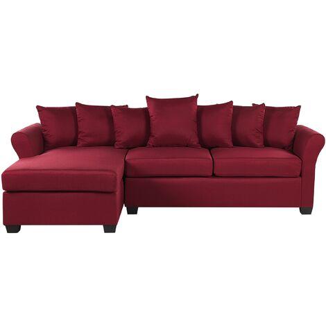 Modern Corner Sofa Dark Red Fabric Cushion Seat Back Black Legs Vikna