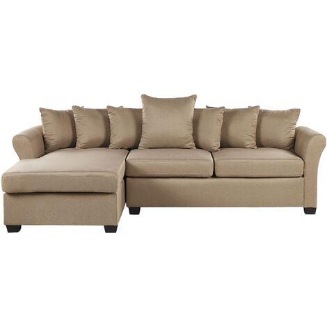Modern Corner Sofa Beige Fabric Cushion Seat Back Black Legs Vikna