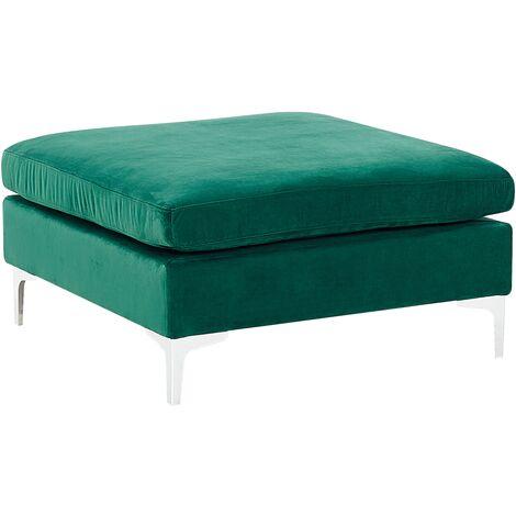 Velvet Ottoman with Top-Pillow Seat Footstool Metal Legs Green Evja