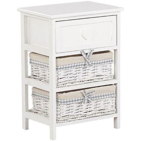 Storage Unit 2 Wicker Baskets 58 x 40 cm Bedside Table White with Beige Zuri