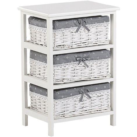 Storage Unit 3 Wicker Baskets 58 x 40 cm Bedside Table White with Grey Zuri
