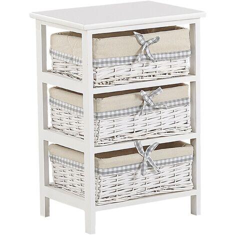 Storage Unit 3 Wicker Baskets 58 x 40 cm Bedside table White with Beige Zuri