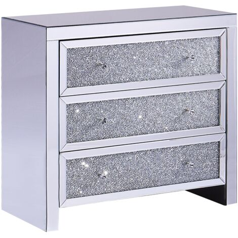 Modern Glam Mirrored Chest of Drawers Sideboard Crushed Diamonds Silver Tilly