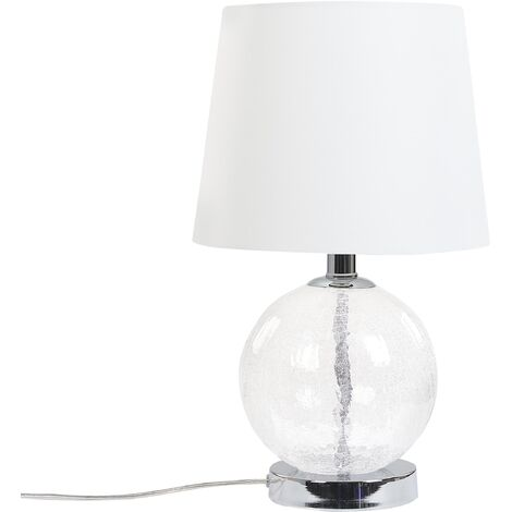 Transparent Glass Table Lamp White Living Room Modern Tapered Drum Shade Semme